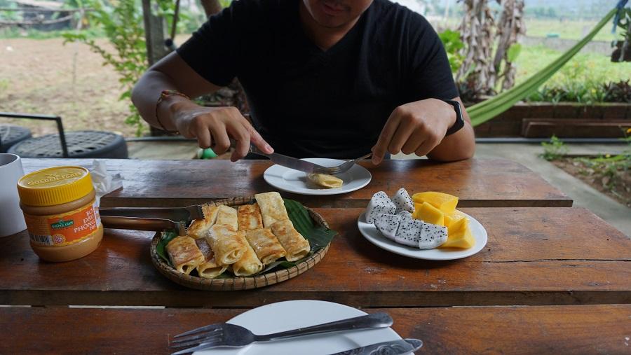 Jungleboss Homestay breakfast Budget Breakdown Travelling as a Couple in Vietnam
