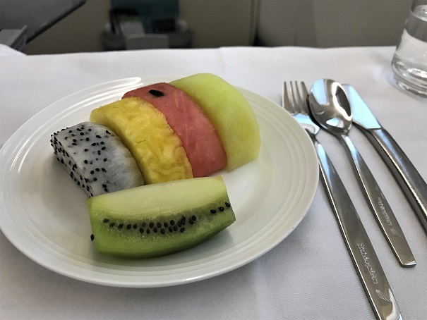 Fruit salad on Ethiopian Airlines Business Class Addis Ababa to Tokyo