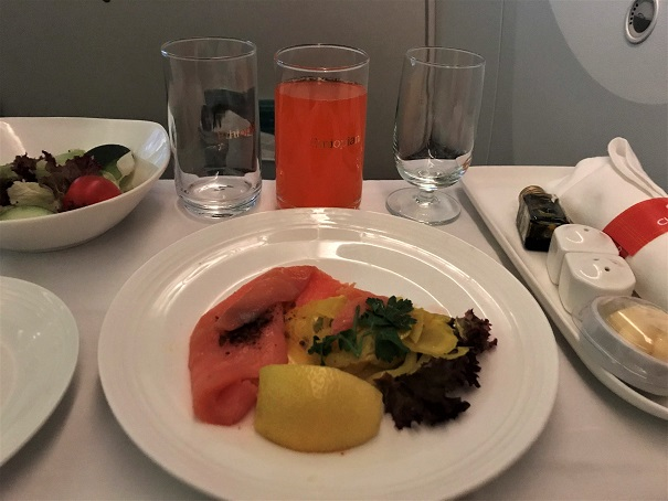 Smoked fish appetizer for Ethiopian Airlines Business Class