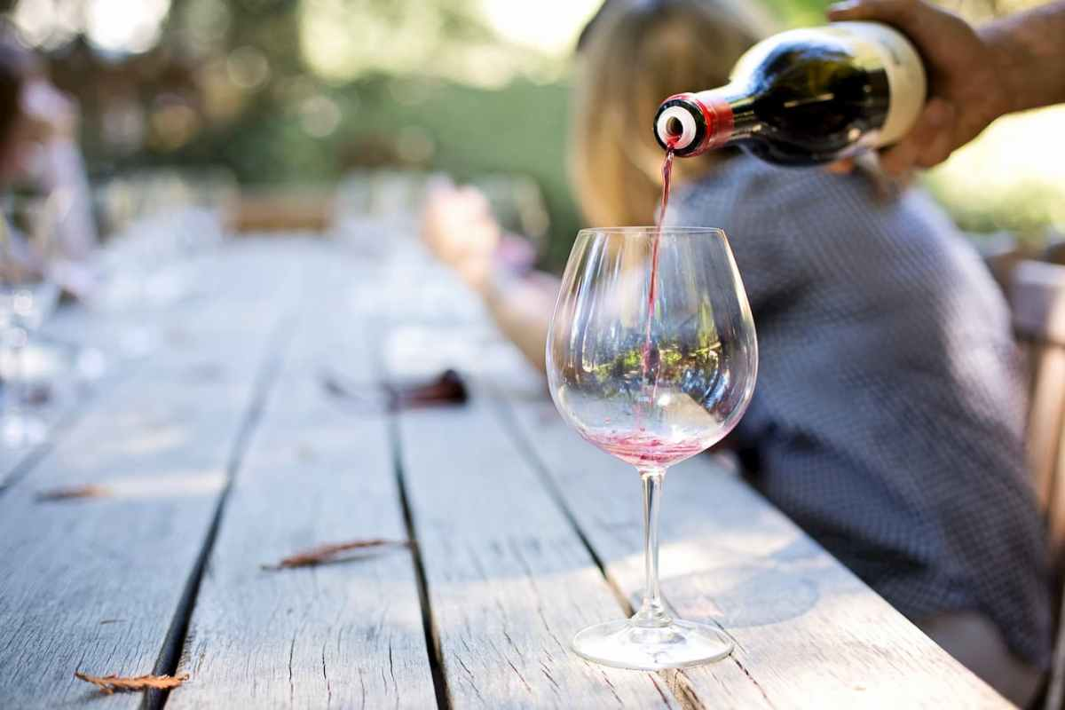 Wine poured onto a wine glass