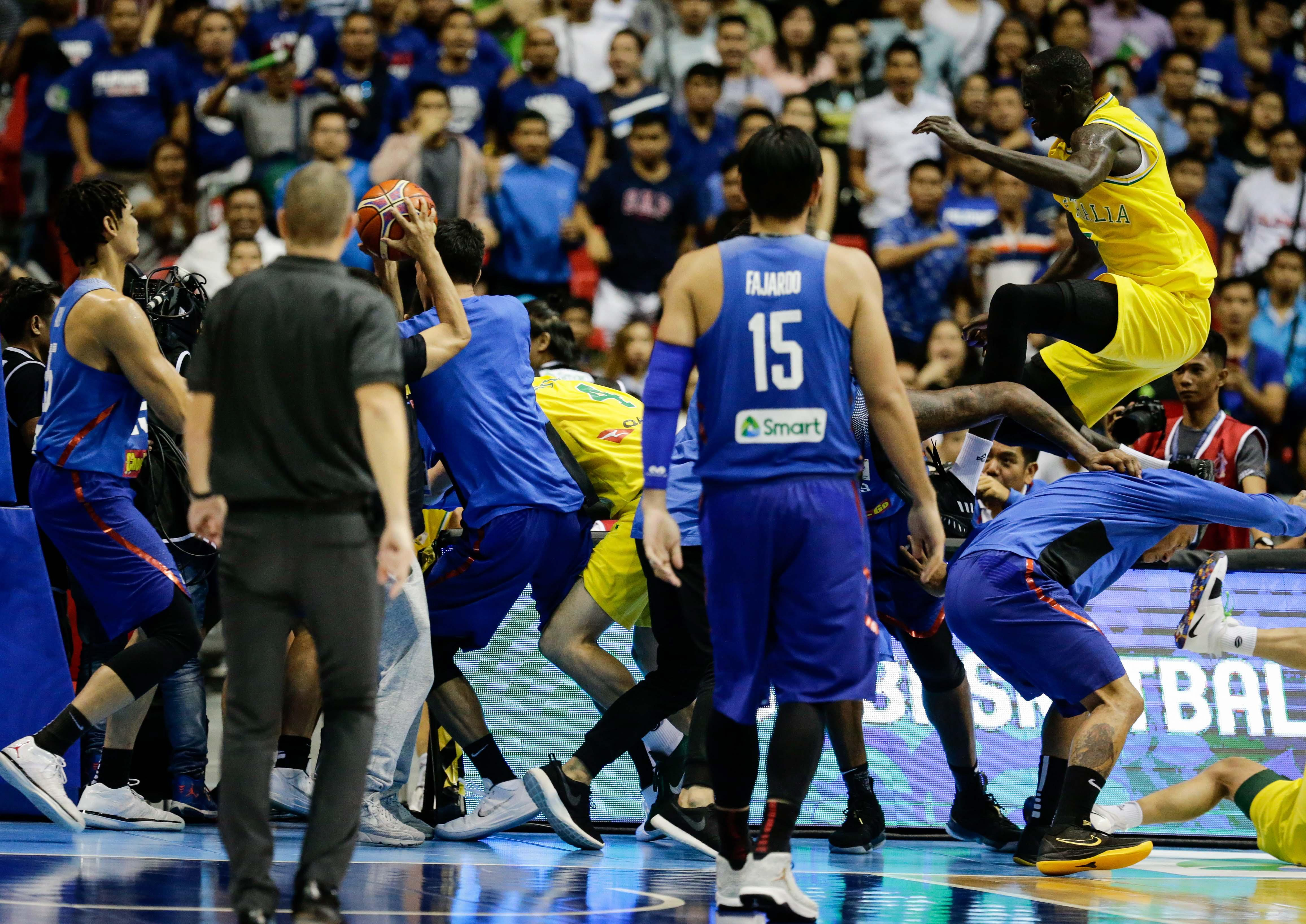 Basketball Chairs Shocking Moment Australia And Philippines Brawl With Flying Knees