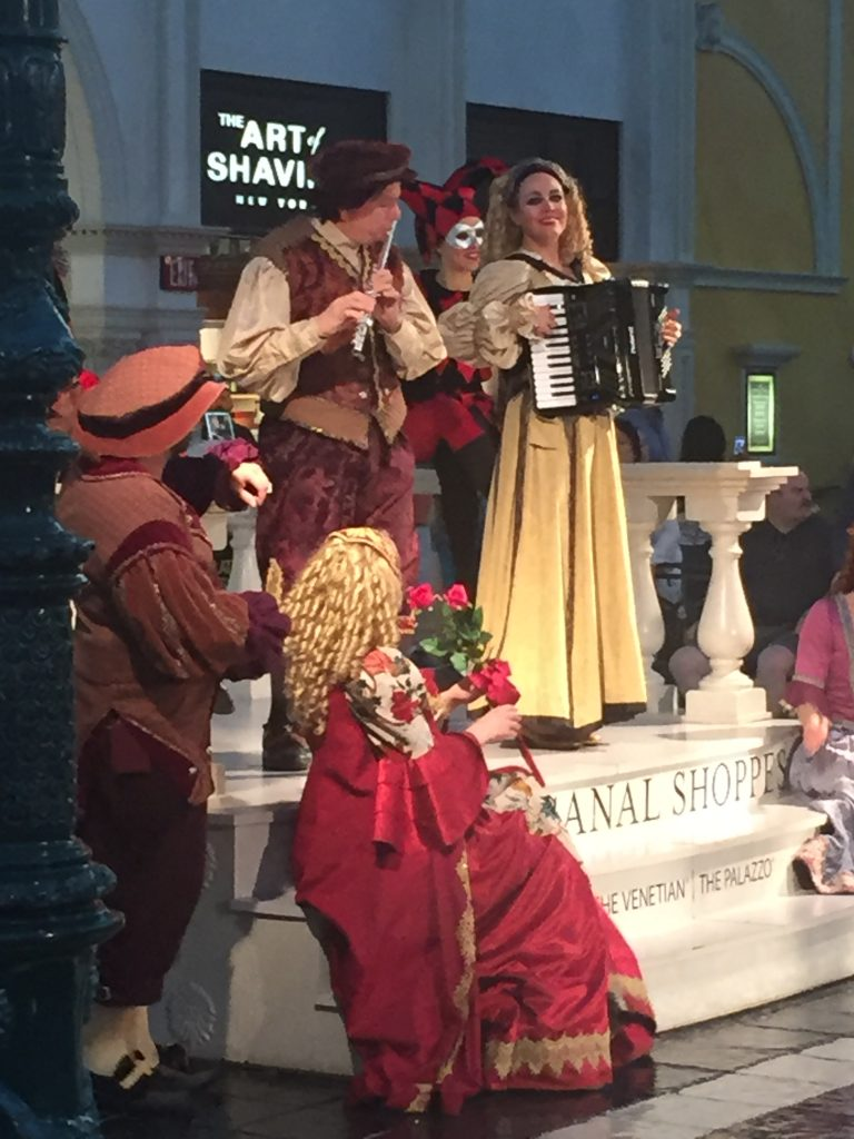 The Carnevale di Venezia performs at the top of the hour every afternoon at St. Mark's Square.