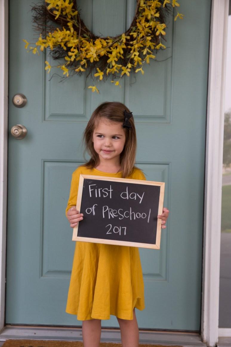 Evelyn first day of preschool