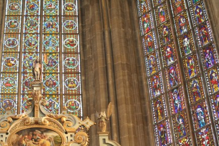 The beautiful stained glass windows.