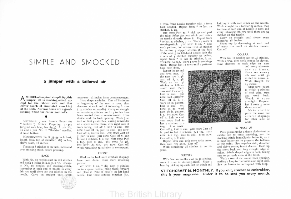 Free Vintage Knitting Pattern: Stitchcraft Leaflet 147