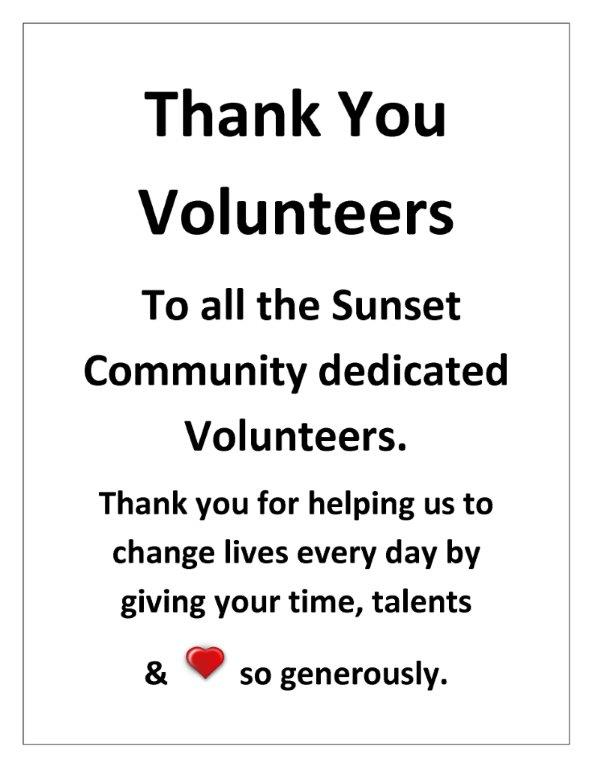 Thank you to all of our volunteers