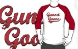 "Image: ""Gunset Goons"" - Red on White/Red Baseball 3/4 Sleeve T-Shirt"