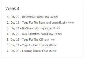 Week 04 - 30 Day Yoga Challenge.