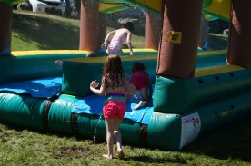 Slipping and sliding on the water slide!