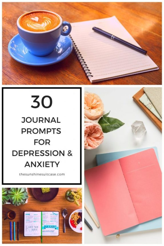 30 Journal Prompts for Anxiety and Depression Graphic. Use Journaling to help your mental health.