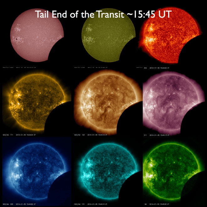 Tail end of the transit ~15:45 UT, roughly 11 minutes left, shown with all 9 SDO/AIA wavelengths.