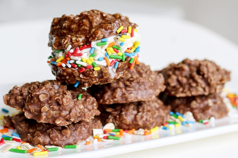 no bake cookies, ice cream sandwiches, recipe, recipes, summer treats, chocolate, peanut butter, oats, kid foods, mom blog, mom blogger, mom bloggers, mom blogs, family friendly dishes, recipes, recipe, food blog, food bloggers