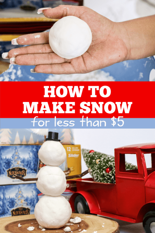 If you live in warmer climate and your kids want to have a snow ball fight, here is an easy, 2 ingredient recipe to make DIY snow for less than $5!