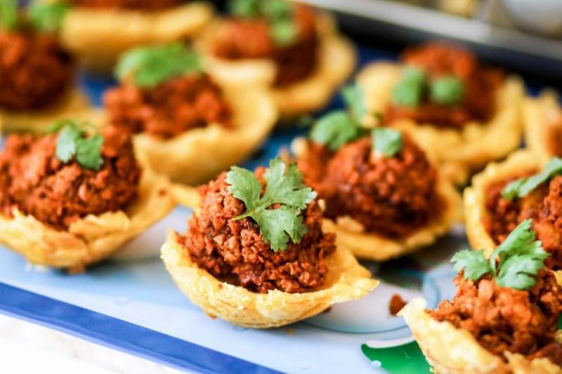 "Shrimp + ""Chorizo"" Tostones Bowls – Featuring MorningStar Farms® Chorizo Crumbles"