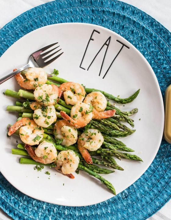 Dijon Shrimp Scampi over Fresh Asparagus
