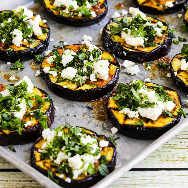 Grilled Eggplant with Garlic-Cumin Vinaigrette, Feta and Herbs by Kalyn at Kalyn's Kitchen