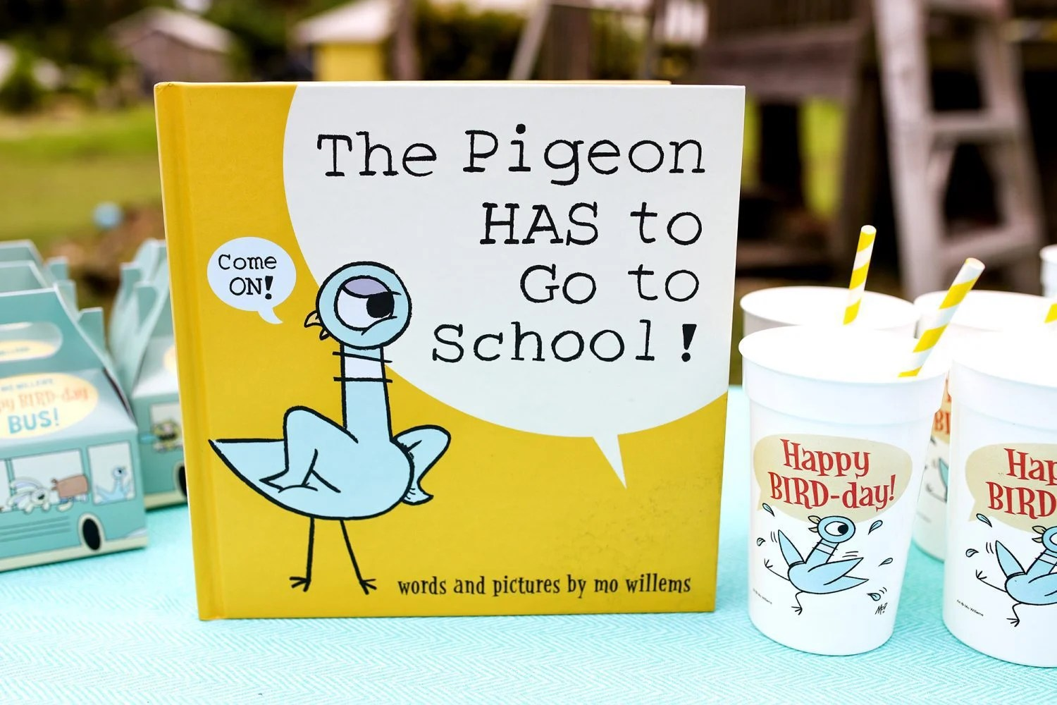 the pigeon has to go to school by mo willems and happy bird-day cups