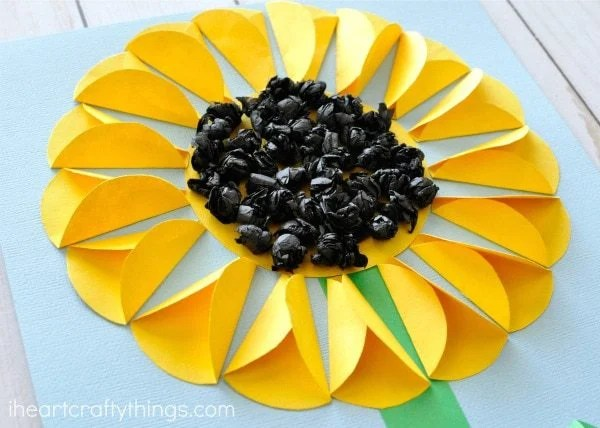 folded paper sunflower summer craft idea for kids