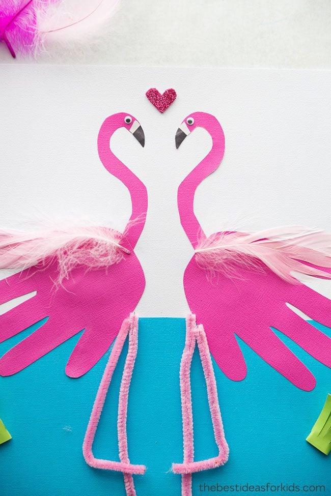 handprint flamingo summer craft idea for kids