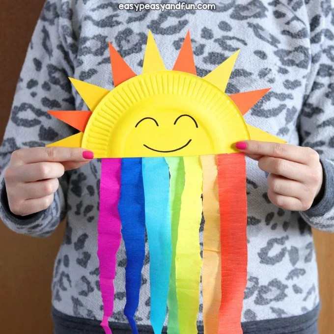 sun and rainbow streamer summer craft idea for kids