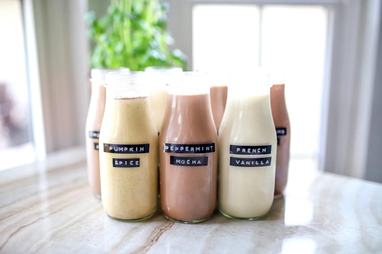 homemade creamers in glass bottles