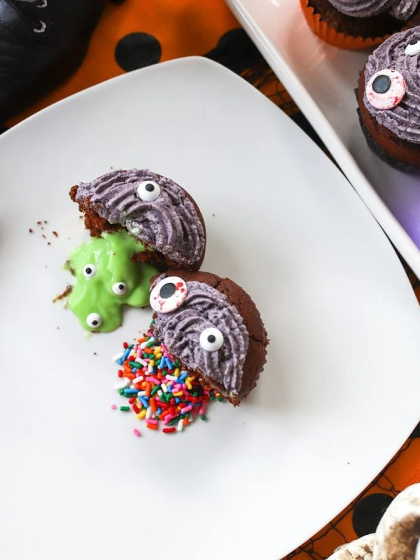 Halloween Trick or Treat Cupcakes Filled with Slime and Sprinkles