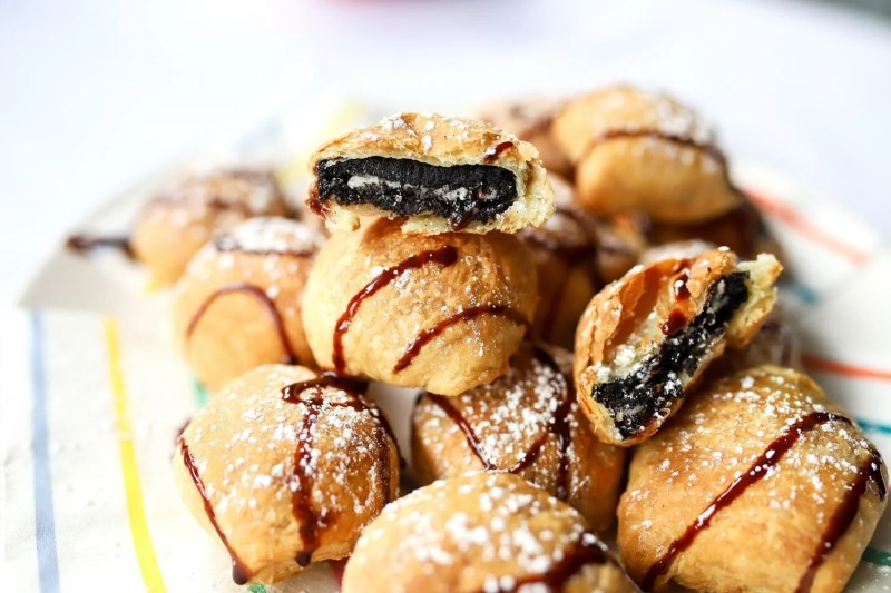 plate of air fried oreos