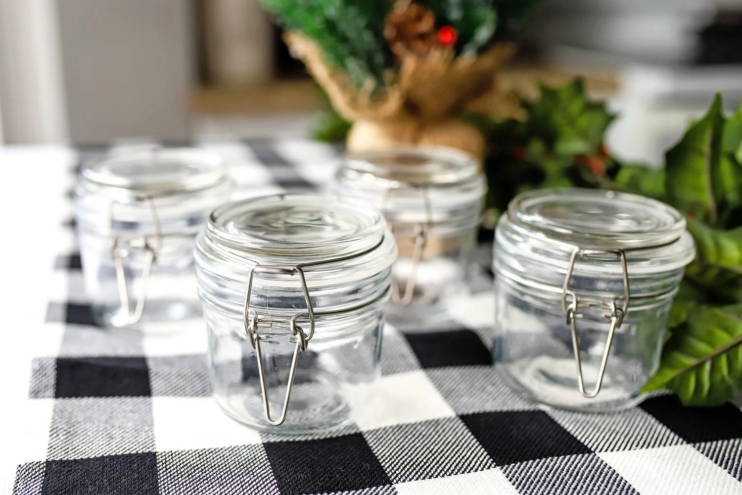 jars sitting on a holiday table