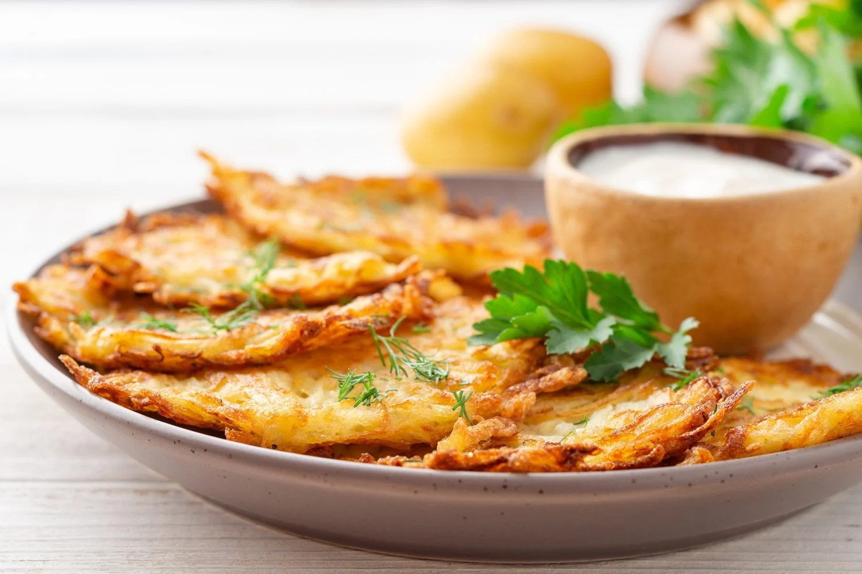 Potato Latkes with side of sour cream