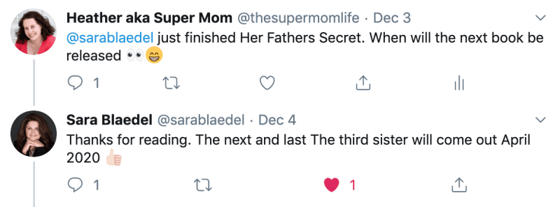 tweet from author Sara Blaedel to a fan