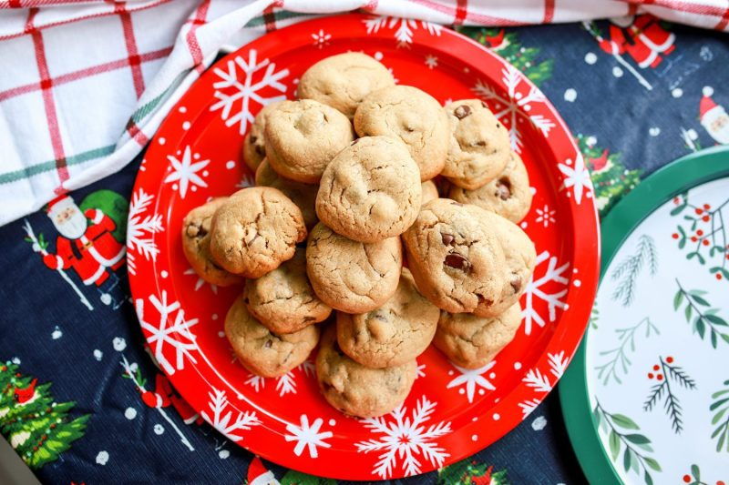 caramel stuffed macchiato chocolate chip cookies on a platter