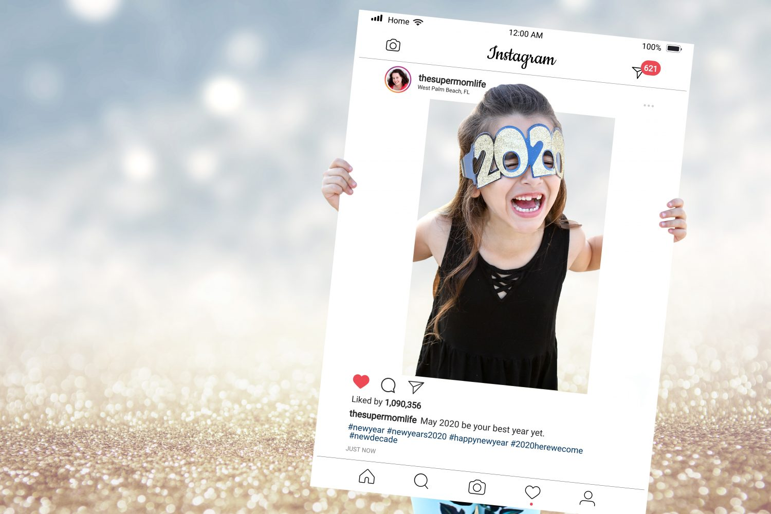 girl with an instagram frame wearing 2020 glasses