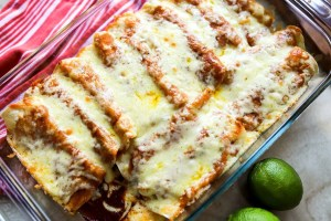 baked enchiladas in a baking dish