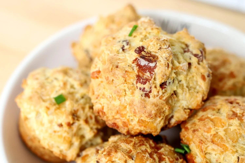 Close up of cheesy bacon irish soda bread muffins