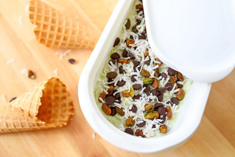 container of no churn pistachio ice cream