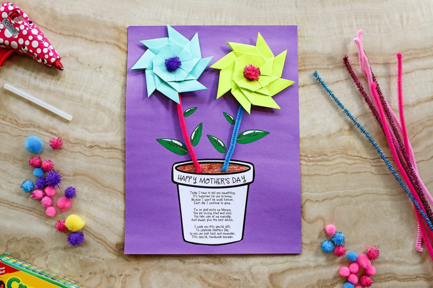 Mother's Day flower pot printable craft idea