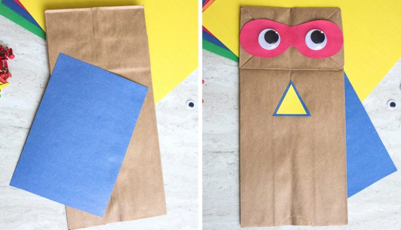 adding a cape to your superhero paper bag
