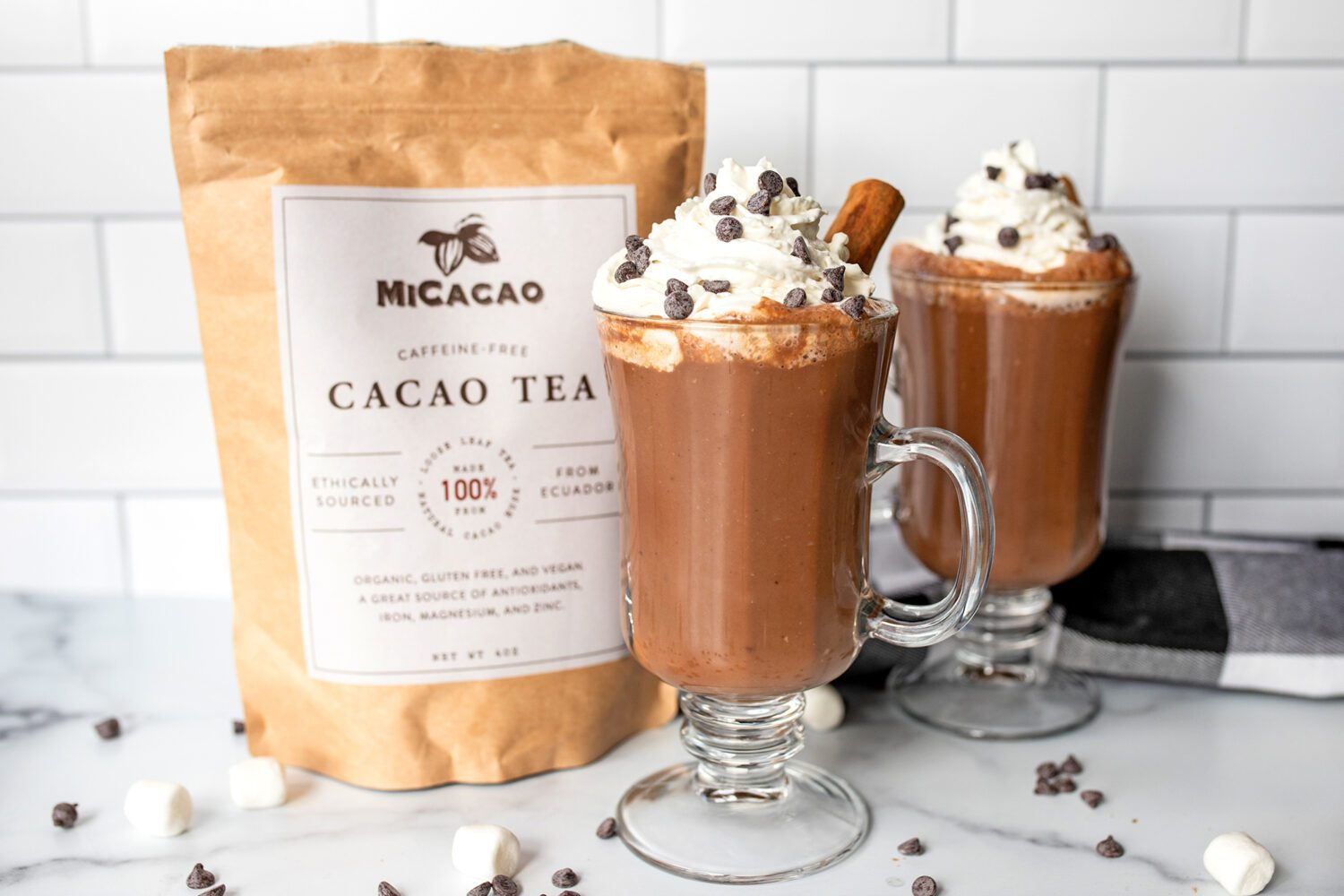 vegan chai hot cocoa in front of a MiCacao tea bag