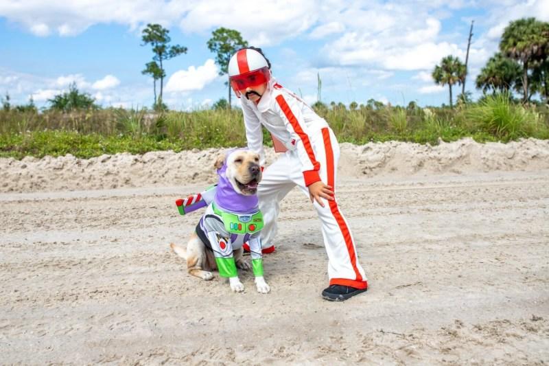buzz lightyear dog costume and duke kaboom costume