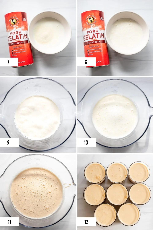 steps to make a caramel and chocolate panna cotta