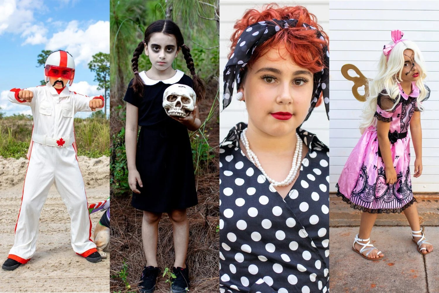 halloween costumes on a budget duke kaboom Wednesday addams i love lucy creepy windup doll