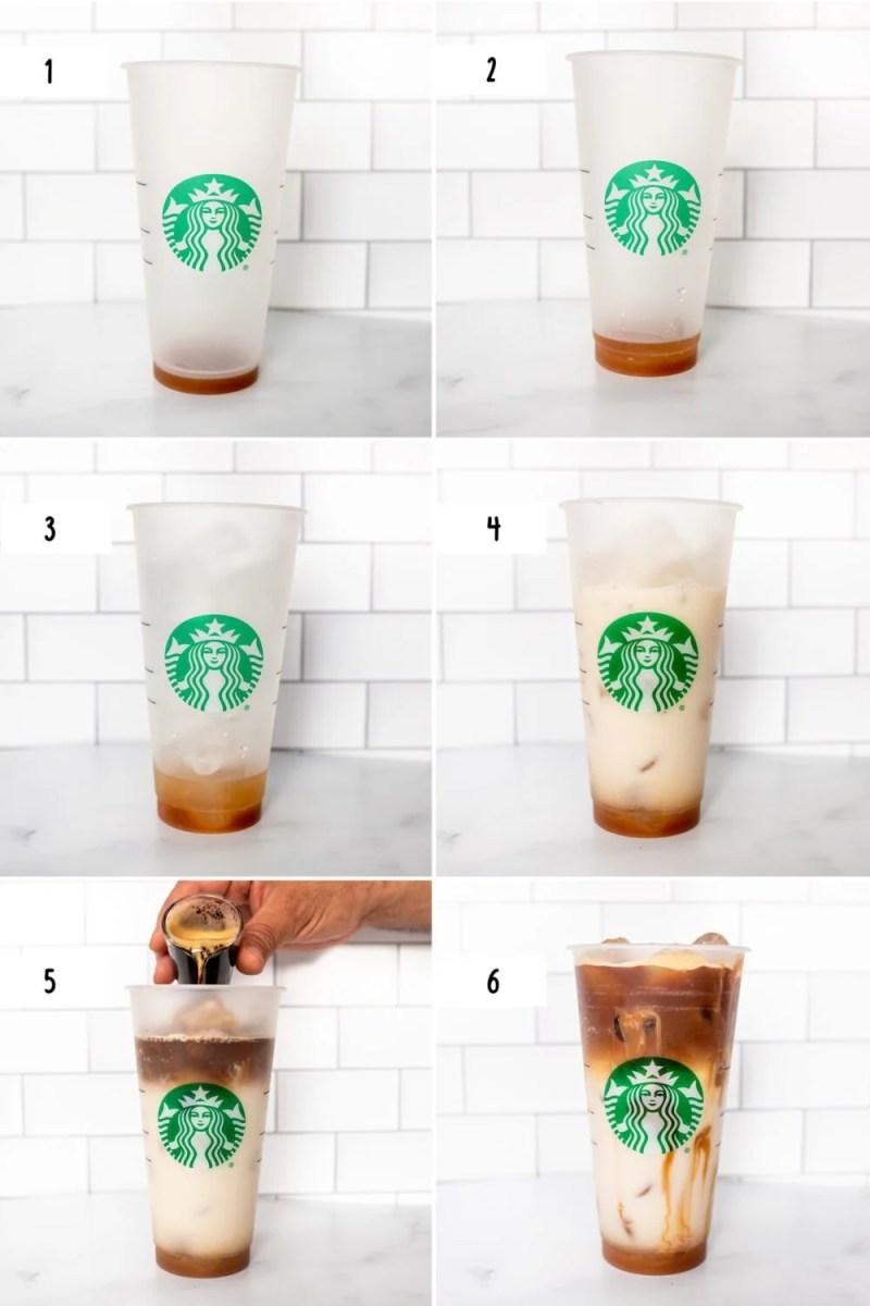steps how to make an iced caramel macchiato