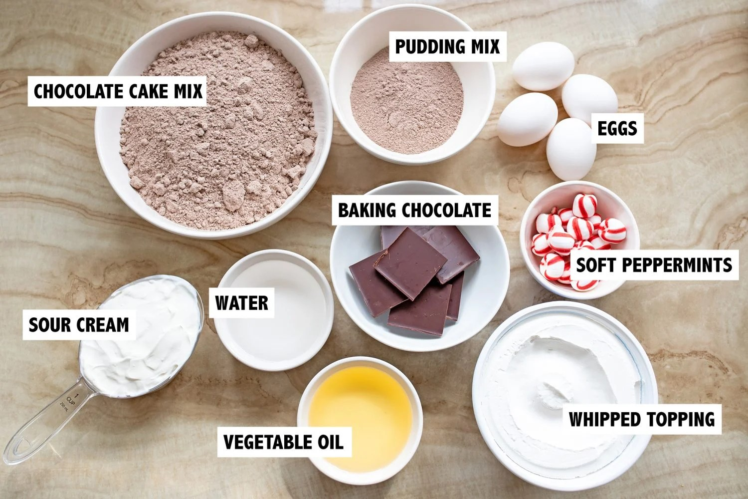 ingredients for chocolate peppermint cupcakes