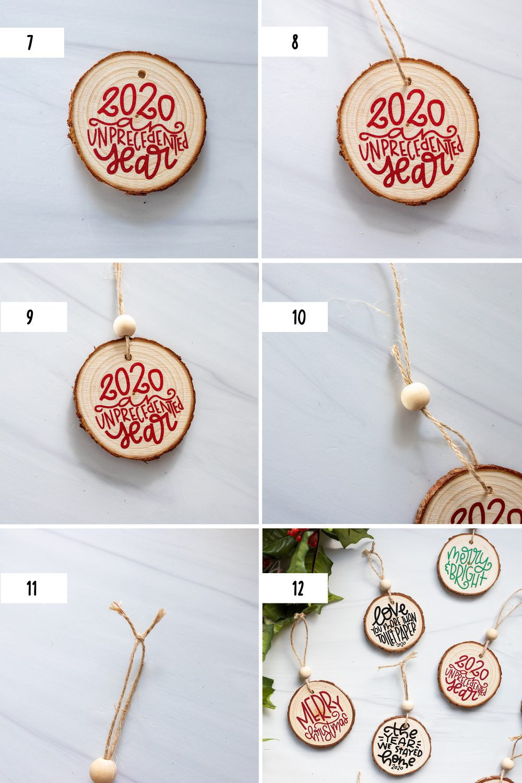 final six steps to make a DIY wood slice ornament