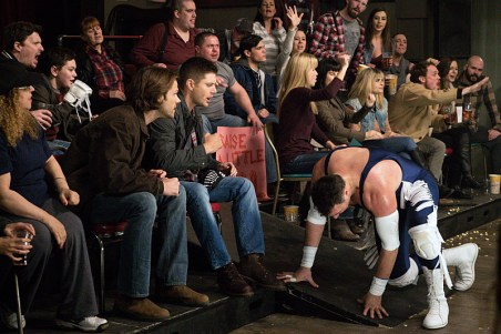 "Supernatural -- ""Beyond The Mat"" -- Image SN1115b_0236.jpg -- Pictured (L-R): Jared Padalecki as Sam, Jensen Ackles as Dean, and Aleks Paunovic as Gunnar Lawless -- Photo: Liane Hentscher/The CW -- © 2016 The CW Network, LLC. All Rights Reserved."