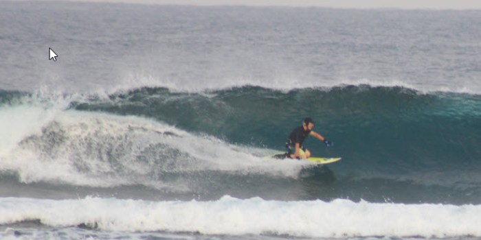 Roger in action at Ujung Bocur in his Aleeda surf cap