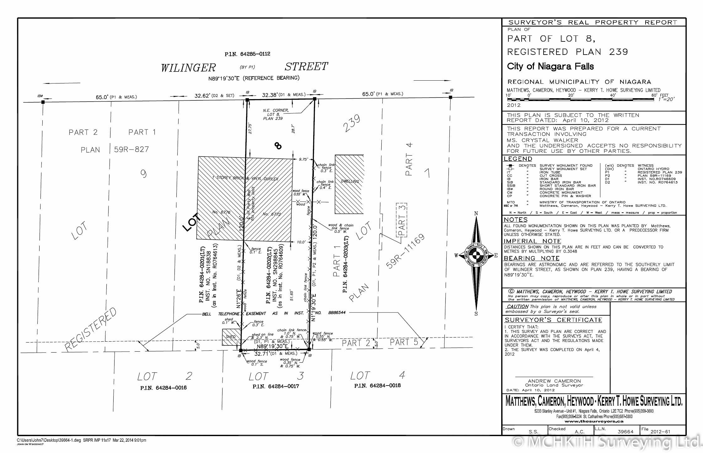 Matthews Cameron Surveyors Surveyor's Real Property Report