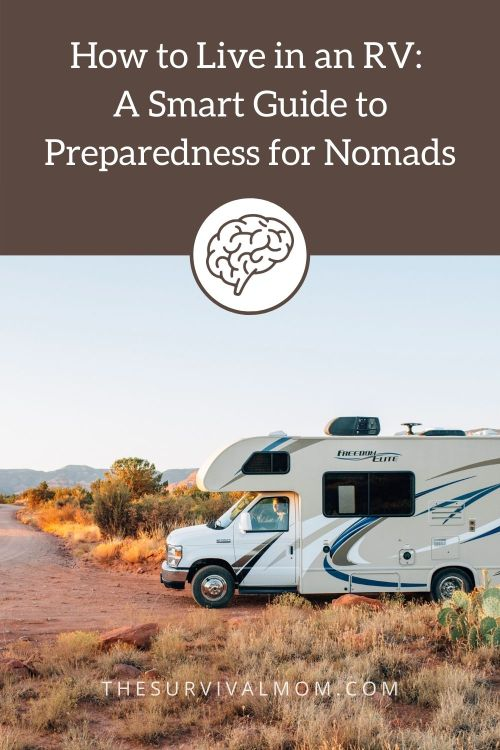 image: RV in the desert, live in an RV, mobile home, motor home, nomad