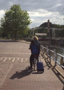 biking with passenger and suitcase