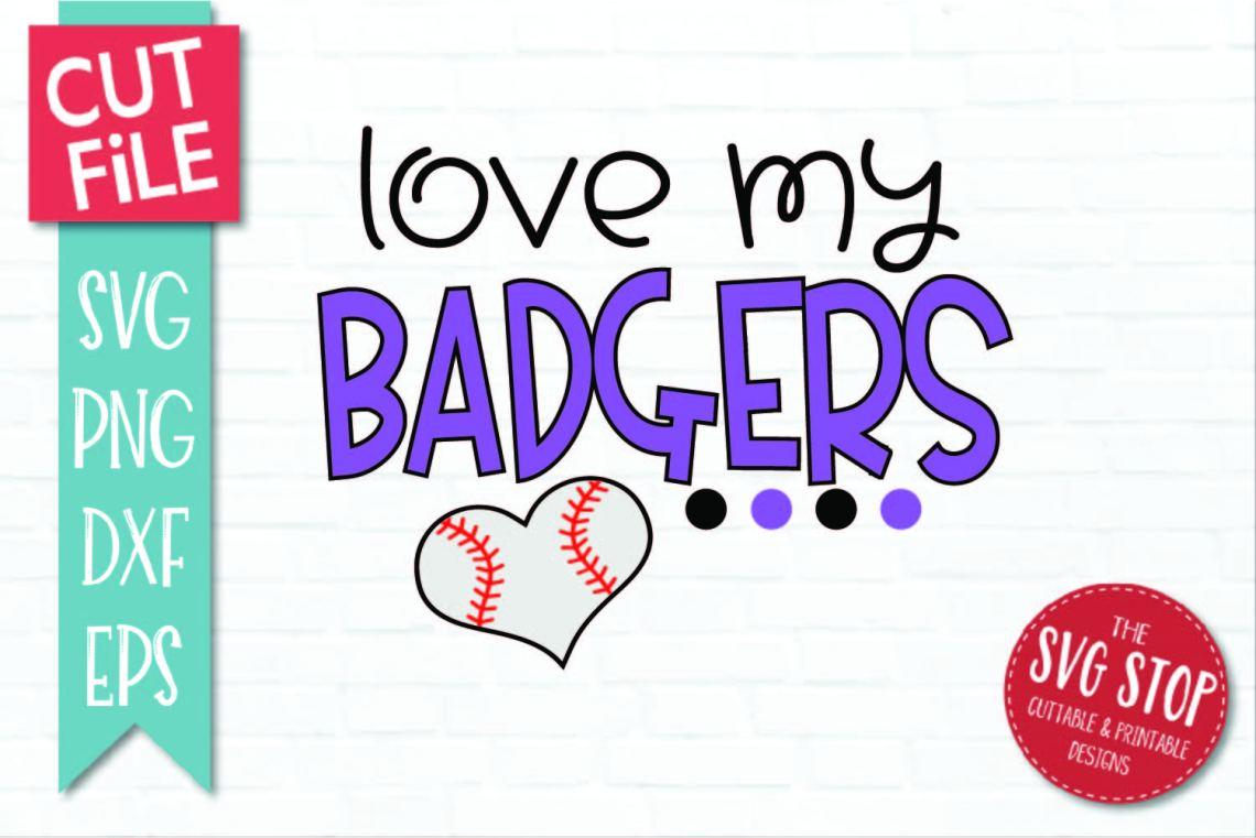 Download Baseball Love Badgers - SVG, DXF, PNG, EPS - Cut File